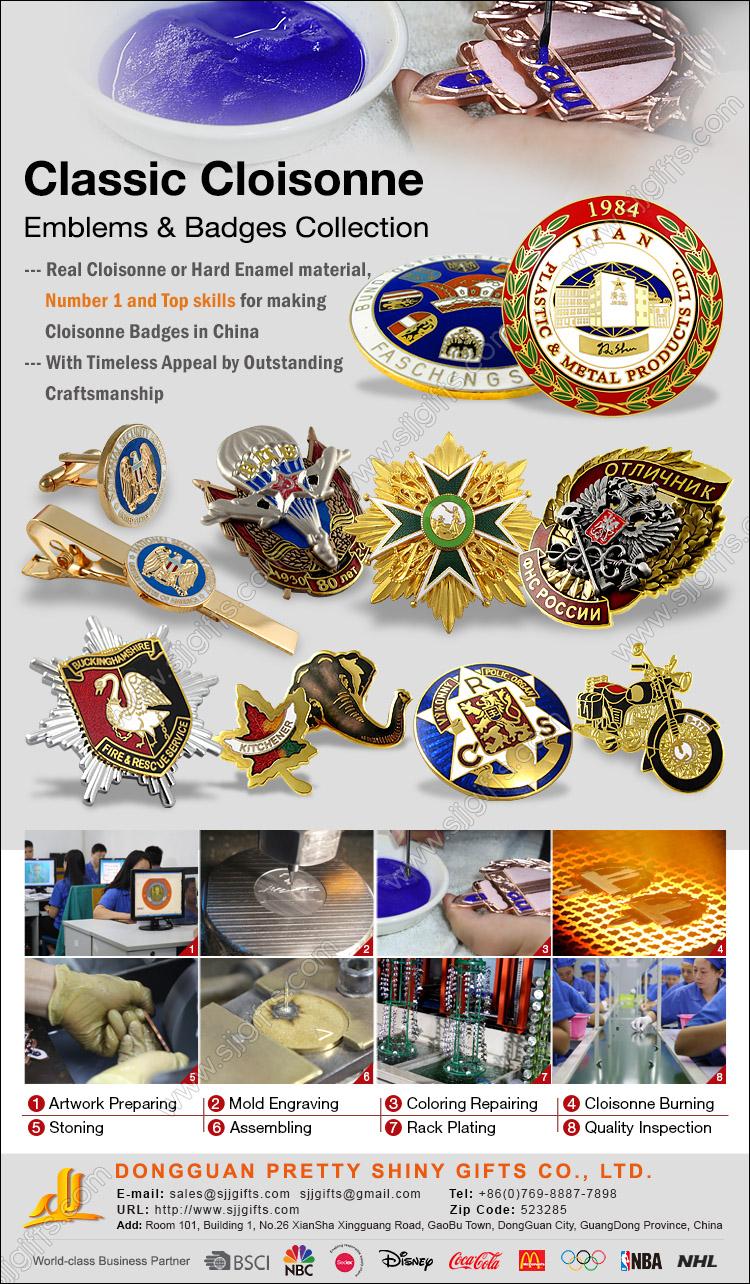 Classic Cloisonne Emblems & Badges Collection