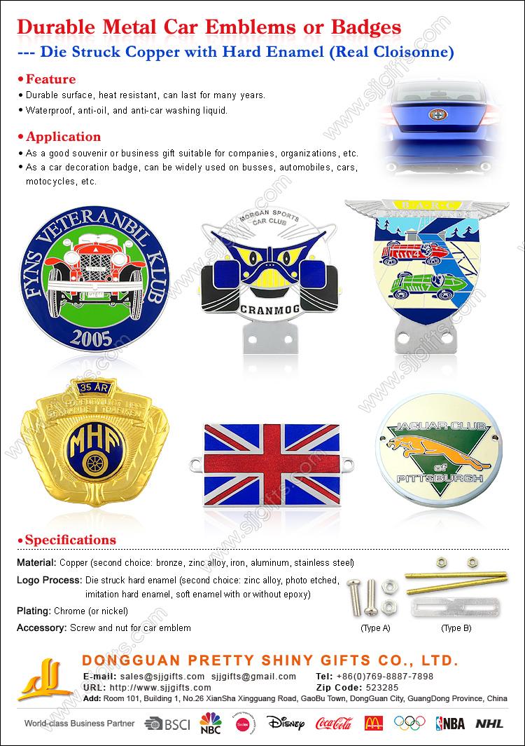 Durable Metal Car Emblems or Badges