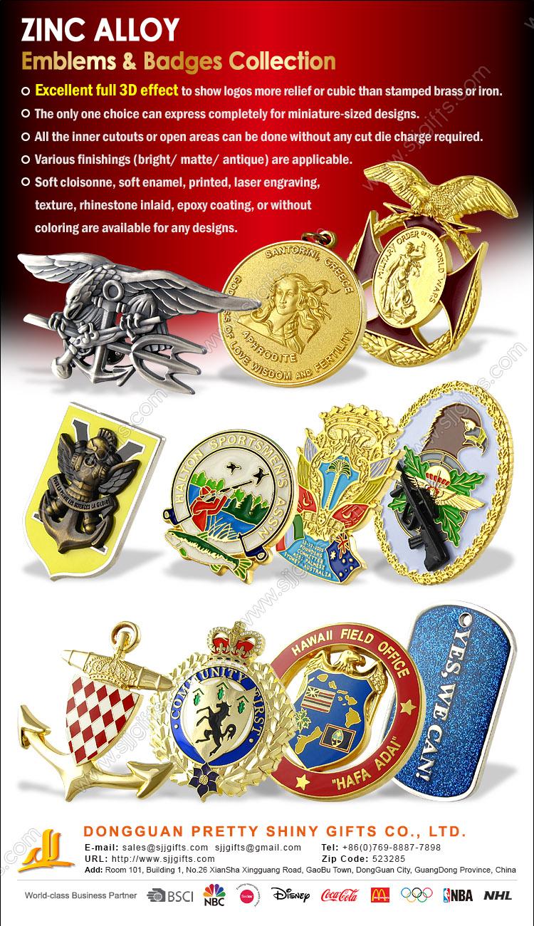 Zinc Alloy Emblems & Badges Collection